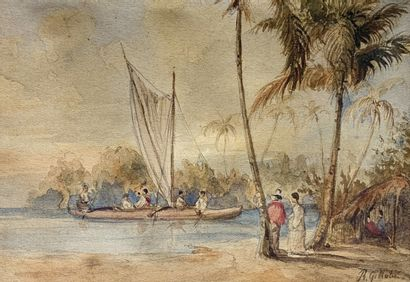 René GILLOTIN (1814-1861)  La Pointe des...