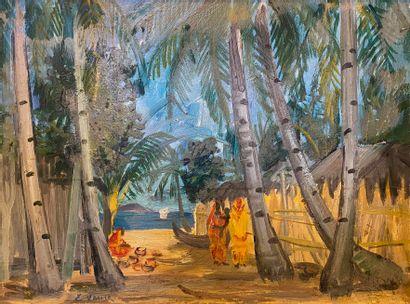 Elisabeth FAURE (1906-1964)  Village en bord...