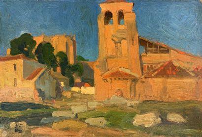 Charles FOUQUERAY (1869-1956)  Eglise espagnole....