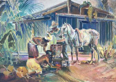 Ecole du XXe siècle.  Les chevaux à l'abreuvoir....