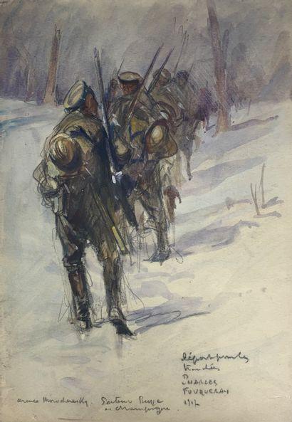 Charles FOUQUERAY (1869-1956)  Le départ...