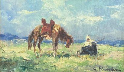 Gustave FLASSCHOEN (1863-1940).  Cavalier...