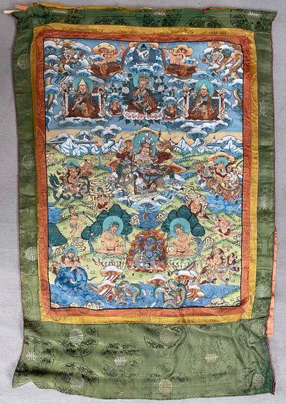 Thangka.  Népal, XXe siècle. Peinture sur...