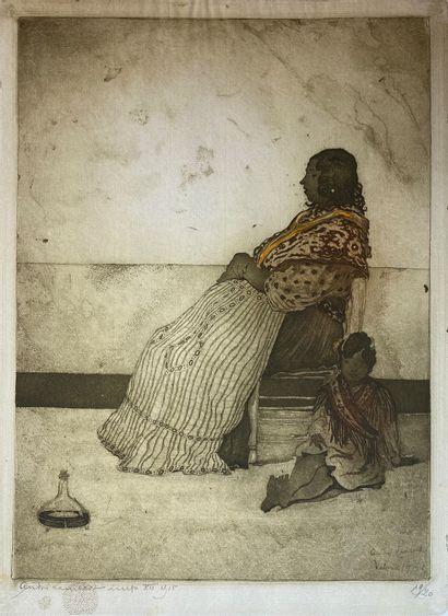 André LAMBERT (1884-1967)  Femme et enfant...