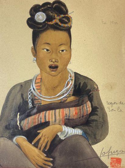 Léa LAFUGIE (1890-1972)  Femme et enfant,...