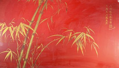 Nguyen VAN RO (1921-1997)  Bambous.  Panneau...