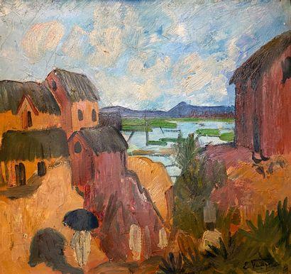 Elisabeth FAURE (1906-1964)  Village à Madagascar....