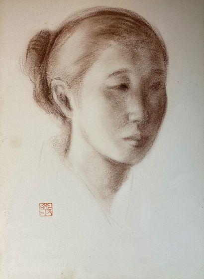 Ecole extrême-orientale  Portrait de femme....