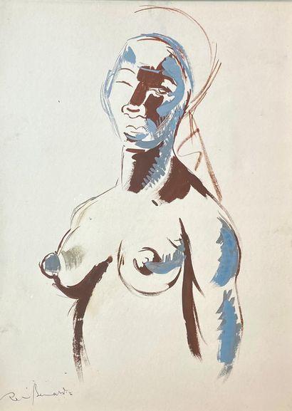 Renée BERNARD (1906-2004)  Portrait d'Africaine....