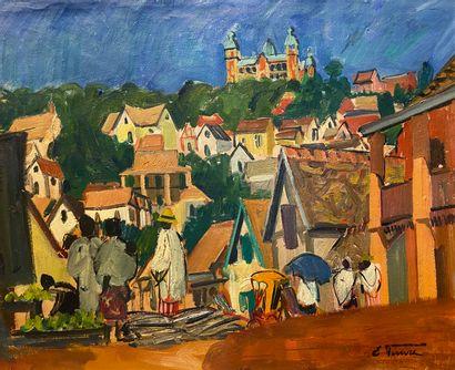 Elisabeth FAURE (1906-1964)  Village animé...