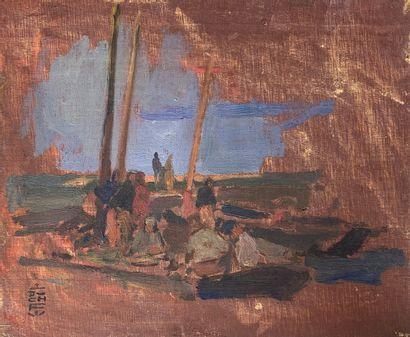 Charles FOUQUERAY (1869-1956)  Pêcheurs en...