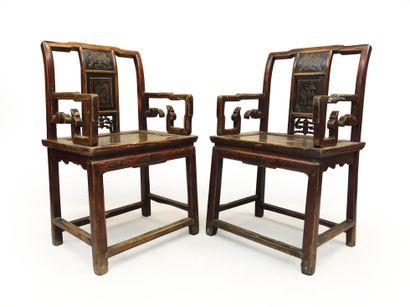 Paire de fauteuils de dignitaires en bois...
