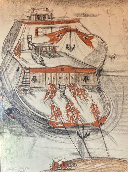 André MAIRE (1898-1984)  Vue de bateau, 1953....