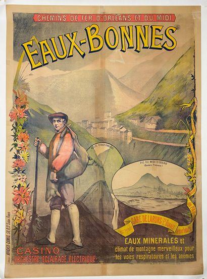 """Chemins de fer d'Orléans et du midi, Eaux bonnes"""".  Affiche lithographique en couleurs..."""