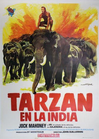 Tarzan en la India. Affiche entoilée. 100...