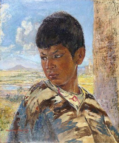 Charles MICHEL (1874 - 1940) Jeune Mexicain devant le volcan Popocatepet. Huile sur...