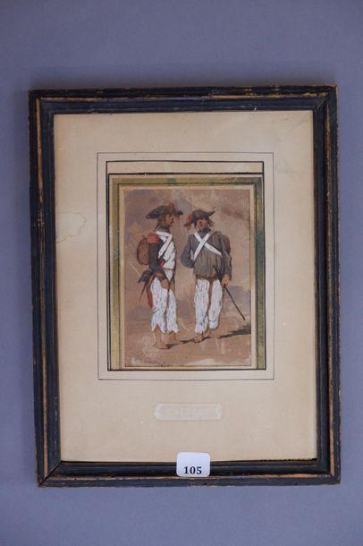 Edouard CHEVRET (XIXe siècle). Deux soldats...