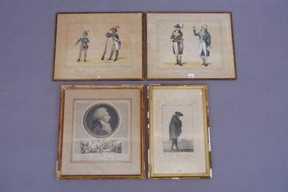 Ecole du XVIIIe siècle. Trois gravures figurant...