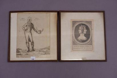 Ecole française du XIXe siècle. Deux gravures...