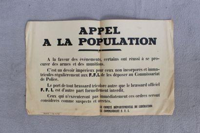 Affiche imprimée. Appel à la population.haumont...