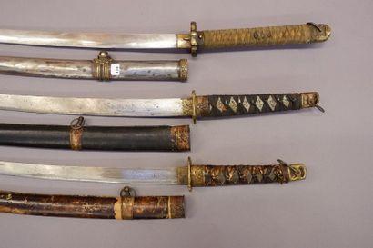 Ensemble de trois sabres japonais.