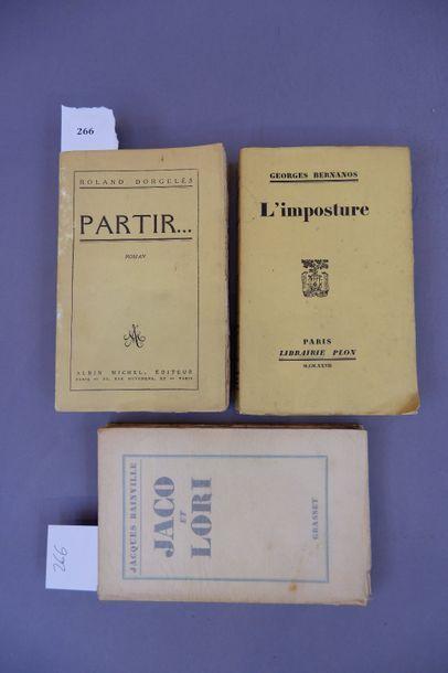 Trois livres anciens. Jaco et Lori de Jacques bainville, Partir de Roland Dorgeles,...