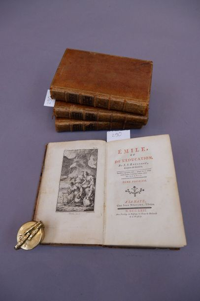 ROUSSEAU Jean-Jacques EMILE OU DE L'EDUCATION. LA HAYE, NEAULME, 1762 4 volumes...
