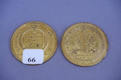Deux médailles en bronze doré des représentants...