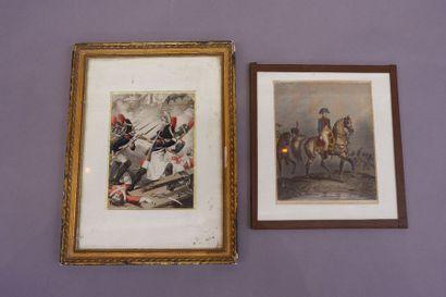 Ecole du XIXe siècle, deux gravures en couleur...