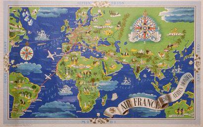 Planisphère AIR FRANCE Réseau aérien mondial,...