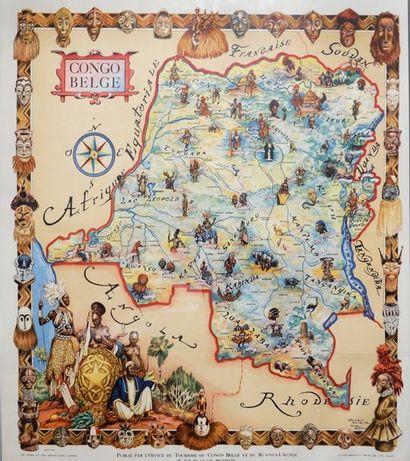 Congo Belge. Affiche de James Thiriar. Décor...
