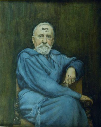 Georges Jean (1848-1907) Portrait de Pierrre PUVIS DE CHAVANNES. Gouache et crayons...