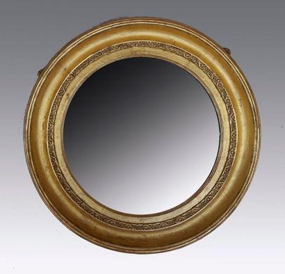 Miroir circulaire de sorcière en bois mouluré...