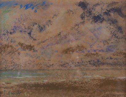 École du XXe siècle «Après l'orage en Normandie», 1995 Pastel signé P. MASSET et...