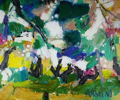 MICHEL NO (1939) Journée champêtre. Huile sur toile signée en bas à droite. 22 x...