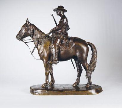 Henri VALETTE (1891-?) Le Gardian. Rare épreuve en bronze à patine brun nuancé. Belle...