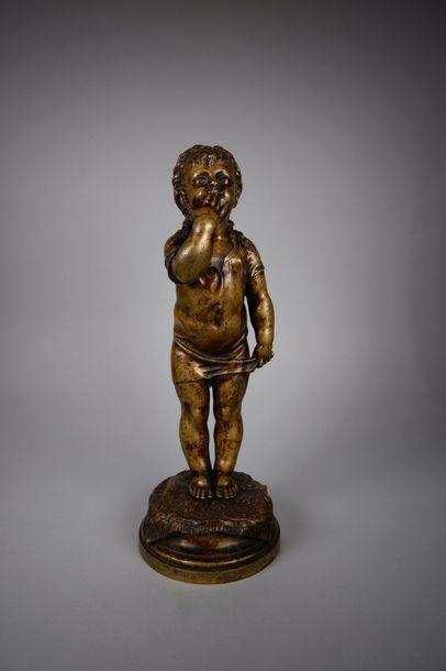 Nicolas LECORNEY (XIXe siècle) Le baiser. Epreuve en bronze à patine brun clair....