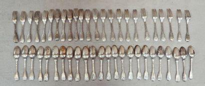 Partie de ménagère en argent (950°/°°) comprenant vingt-quatre couverts. La spatule...
