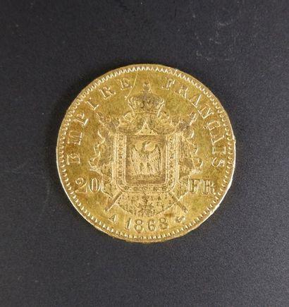 Pièce en or de vingt francs au profil de Napoléon III lauré, 1868.