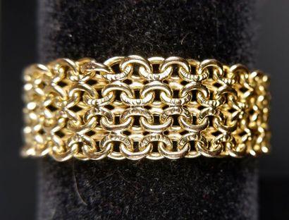 Bracelet en or jaune 18k (750°/°°) à maillons amatis et polis. Long.: 20 cm - Poids:...