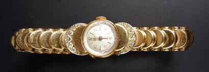 ARCY Montre bracelet de dame en or jaune 18K (750°/°°), la lunette sertie de petits...