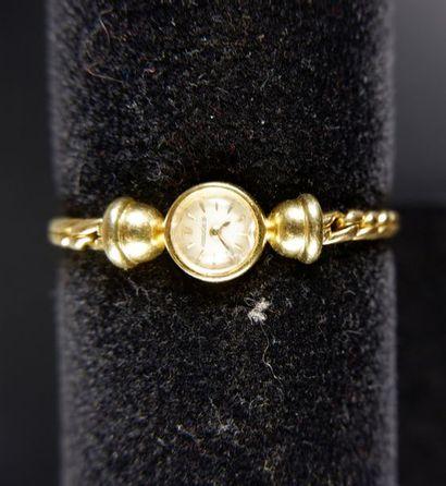 JAEGER LECOULTRE Montre bracelet de dame en or jaune 18K (750°/°°), le cadran circulaire...