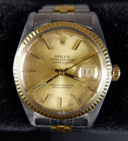 ROLEX Chronomètre bracelet pour homme en acier et or jaune modèle Oyster perpetual...