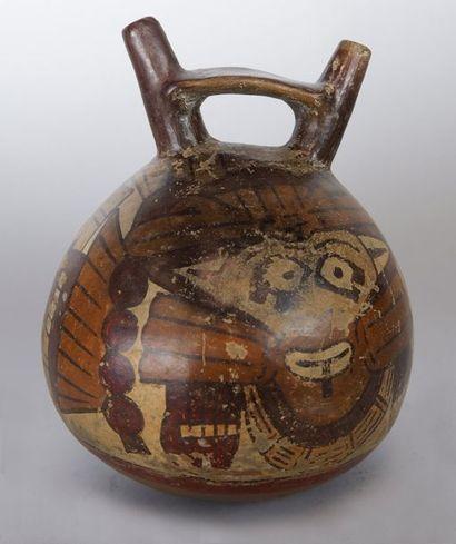 Vase à deux anses Décor de la divinité féline stylisé Terre cuite polychrome (usures...
