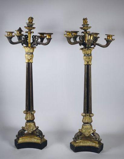 Paire de candélabres à six bras de lumière...