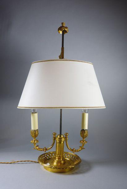 Lampe bouillote à deux bras de lumière feuillagés...