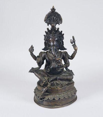 Ganesh. Epreuve en bronze. Inde du nord,...