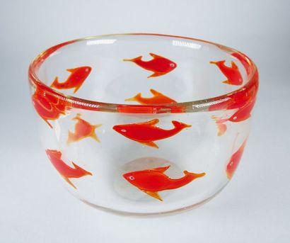 Coupe aux poissons rouges en verre translucide...