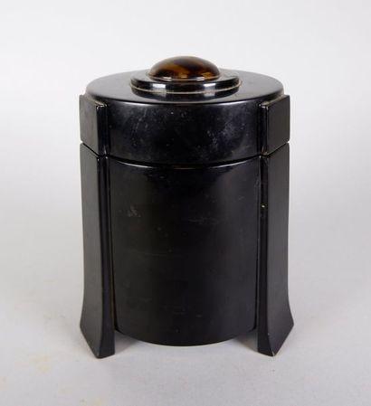 Boite à thé circulaire tripode en bois laqué...