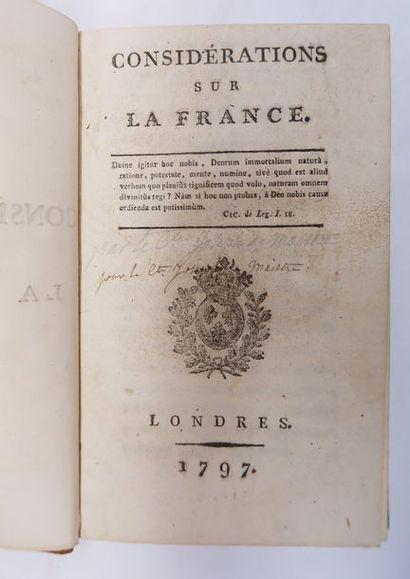 [Comte Joseph de MAISTRE]. Considérations...